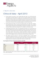 China oil data – April 2013 cover image