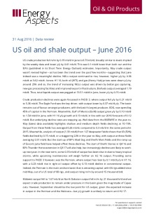 US oil and shale output – June 2016 cover image