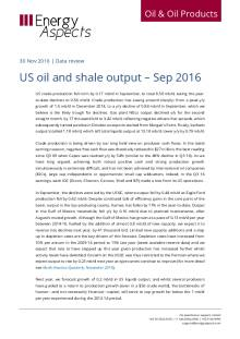 US oil and shale output – Sep 2016 cover image