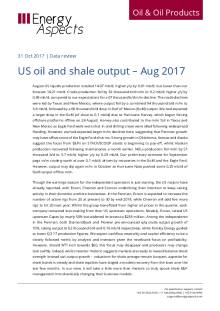US oil and shale output – Aug 2017 cover image
