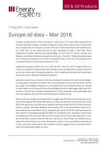 2018-05 Oil - Data review - Europe oil data – Mar 2018 cover