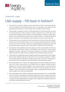 2018-05-18 Natural Gas - Global LNG supply – FID back in fashion? cover