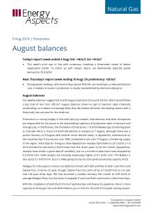 2018-08-09 Natural Gas - North America - August balances cover