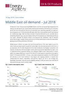 Middle East oil demand – Jul 2018 cover image