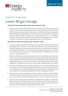 2018-09-18 Natural Gas - North America - Lower 48 gas storage cover