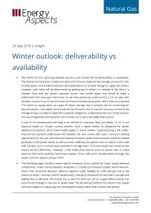 2018-09-24 Natural Gas - North America - Winter outlook: deliverability vs availability cover