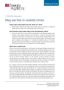 2018-10-11 Natural Gas - North America - May we live in volatile times cover