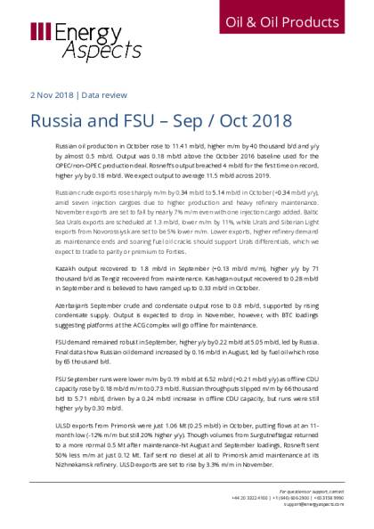 Russia and FSU – Sep / Oct 2018 - Energy Aspects