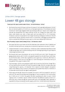 2018-11-20 Natural Gas - North America - Lower 48 gas storage cover