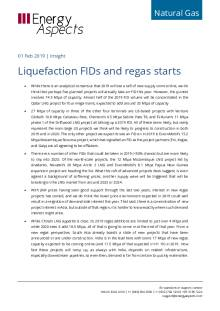 2019-02-01 Natural Gas - Global LNG - Liquefaction FIDs and regas starts cover