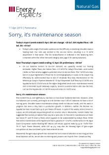 2019-04-11 Natural Gas - North America - Sorry, it's maintenance season cover