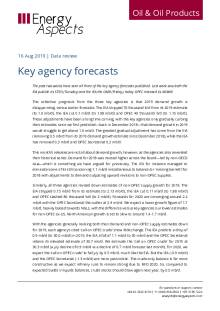 2019-08 Oil - Data review - Key agency forecasts cover