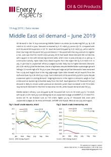 2019-08 Oil - Data review - Middle East oil demand – June 2019 cover