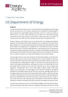 2019-09 Oil - Data review - US Department of Energy cover