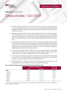 China oil data – Oct 2019 cover image