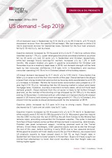 2019-11 Oil - Data review - US demand – Sep 2019 cover